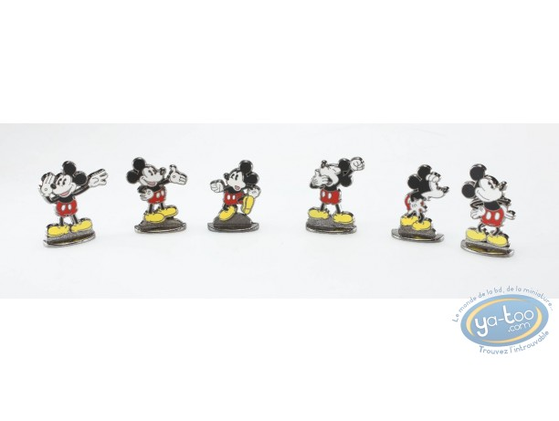 Metal Figurine, Mickey Mouse : Set of 6 bas relief Mickey