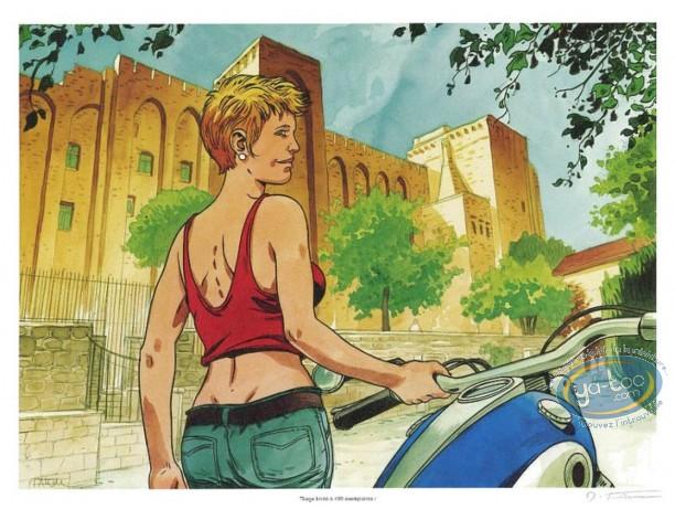 Bookplate Offset, Woman & Motorbike