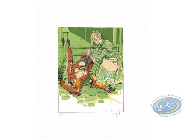 Serigraph Print, Pithécanthrope dans la Valise (Le) : Woman & Monkey