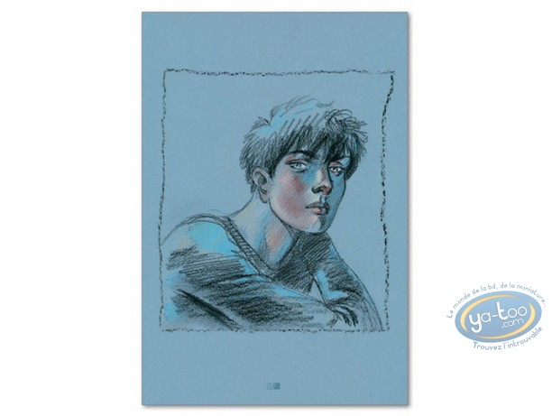 Offset Print, Cahier Bleu (Le) : Louise portrait on a blue background (signed)