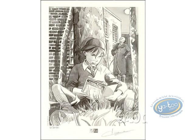 Bookplate Offset, Sand de Lune : Boy Reading