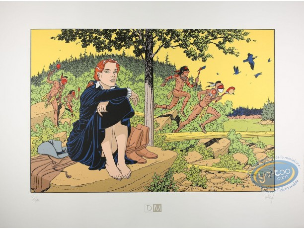 Serigraph Print, Plume aux Vents : Ariane sitting et Indians running