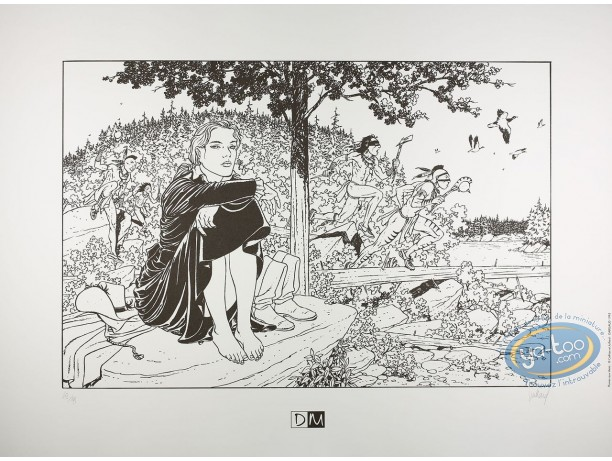 Serigraph Print, Plume aux Vents : Ariane sitting et Indians running (b&w)