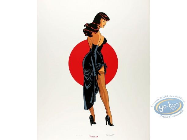 Serigraph Print, Pin-Up : Red Sun