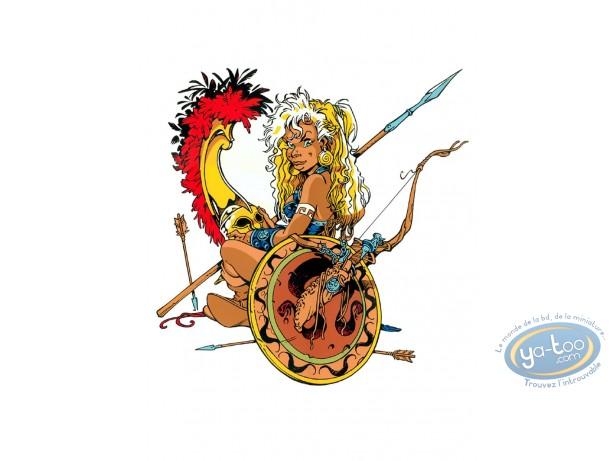 Serigraph Print, Atalante : Atalante  Atalante with a shield
