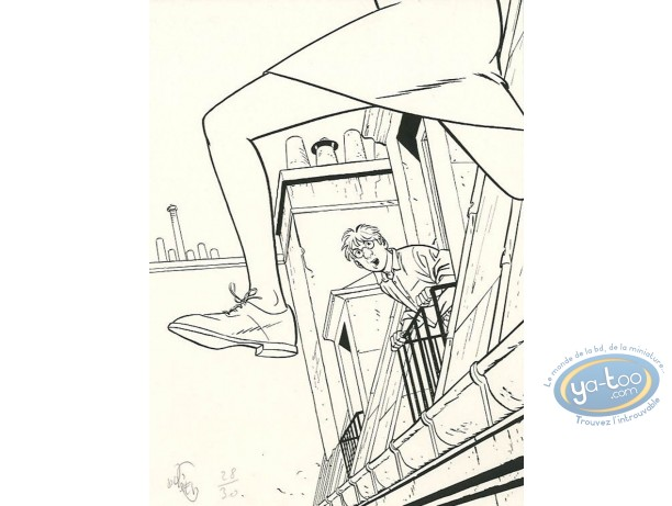 Bookplate Serigraph, Jérome K Bloche : Jump from the roof (b&w)