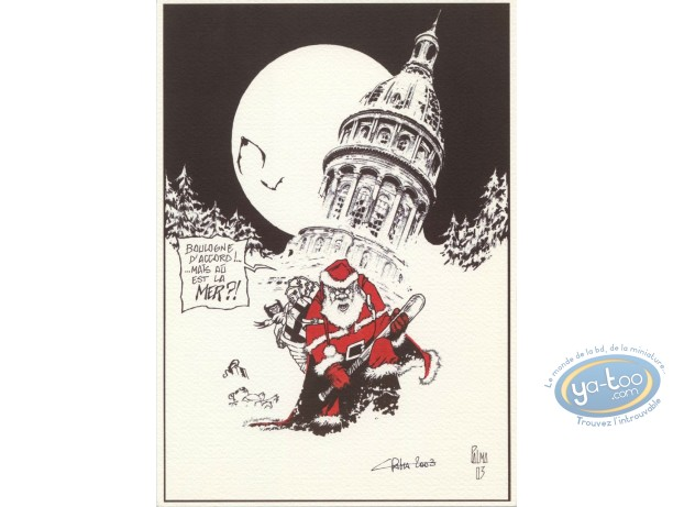Bookplate Offset, Noël : Santa Claus in Boulogne