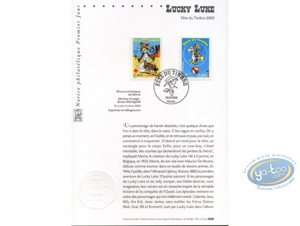 Stamp, Lucky Luke : card 1st day 2 stamps