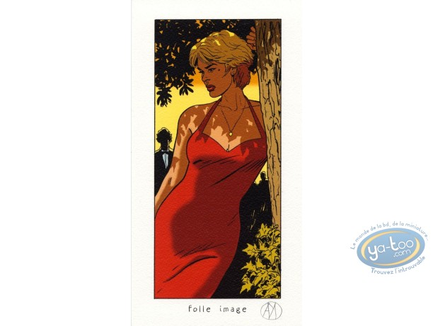 Bookplate Offset, Lady S : In a red dress