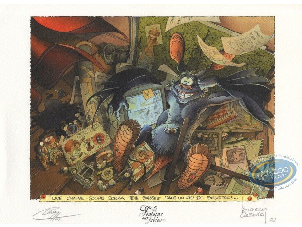 Bookplate Offset, Fontaine aux Fables (La) : The Bat and the two Weasels