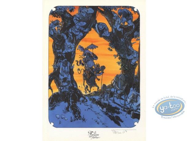 Bookplate Offset, Fontaine aux Fables (La) : Two Mulets