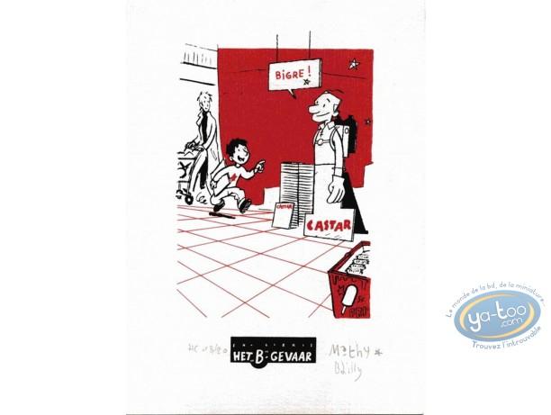 Bookplate Serigraph, Ludo : At the supermarket