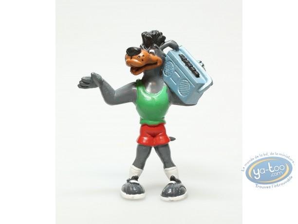 Plastic Figurine, Basket fever : Plastic figure, Basket fever : Dog basket player with green shirt and red short and radio