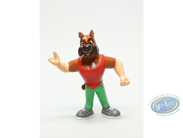 Plastic Figurine, Basket fever : Plastic figure, Basket fever : Dog basket player with red shirt and green trouser