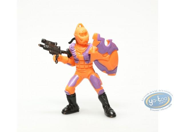 Plastic Figurine, Plastic figure, Orange figure with shield