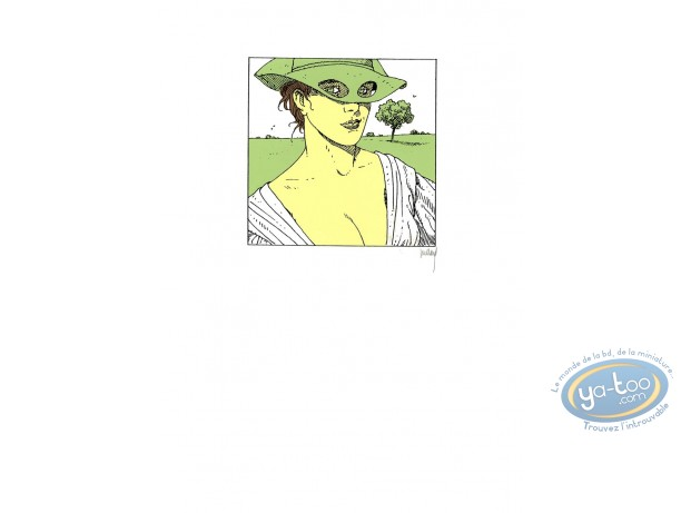 Serigraph Print, Quelque Chose de Bleu : Woman with a green hat