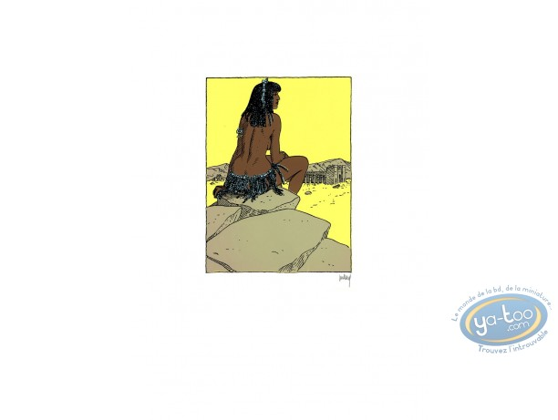 Serigraph Print, Quelque Chose de Bleu : Woman on the stone