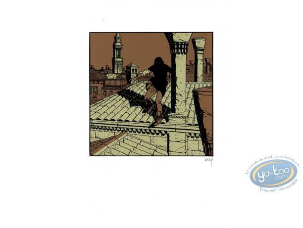 Serigraph Print, Quelque Chose de Bleu : Man on the roof