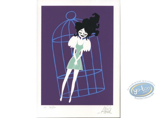 Bookplate Serigraph, Abraxas : Bird-woman