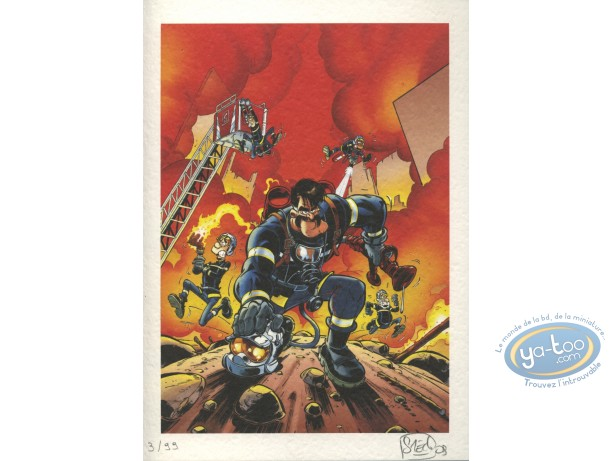 Bookplate Offset, Pompiers (Les) : Fire !