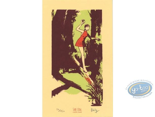 Bookplate Serigraph, Saison des Anguilles (La) : Girl in the wood
