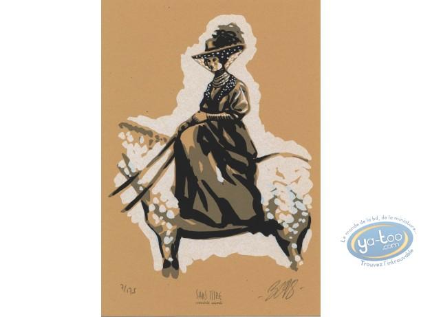 Bookplate Serigraph, Enfer des Pelgram (L') : Woman on Horseback