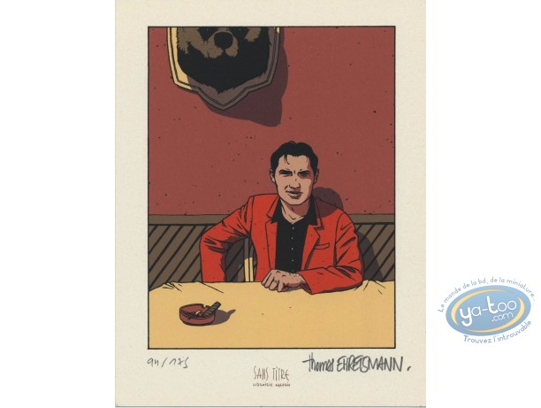 Bookplate Serigraph, Station Debout : Man with cigar