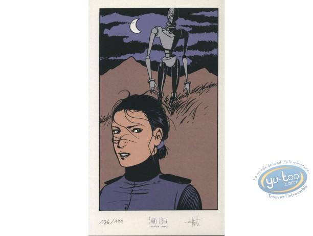 Bookplate Serigraph, Horologiom : Woman & robot