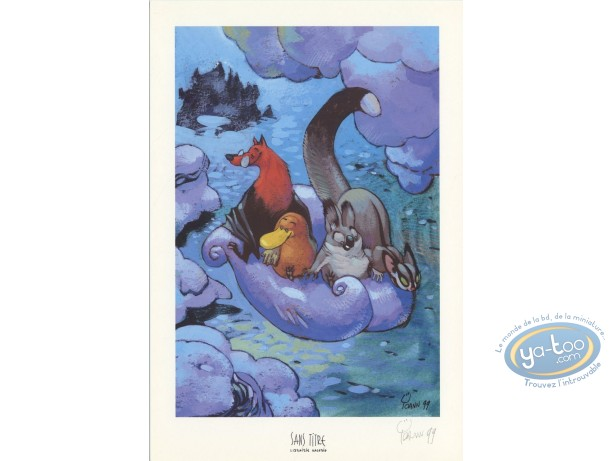 Bookplate Offset, Toto l'Ornithorynque : On a Cloud