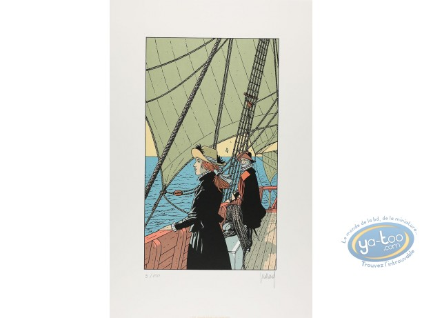 Serigraph Print, Plume aux Vents : Ariane on a ship