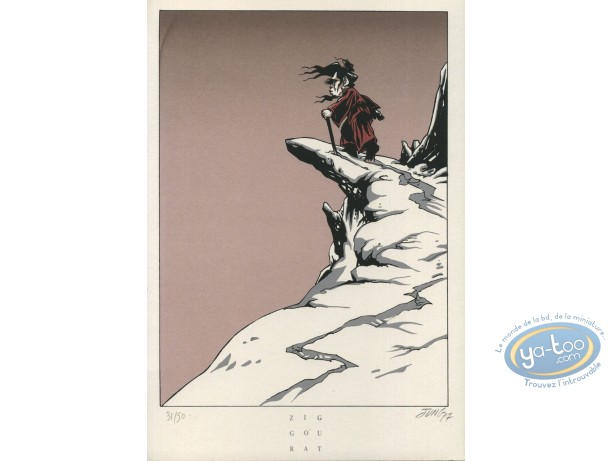 Bookplate Serigraph, Jeune Fille et le Vent (La) : Old Man