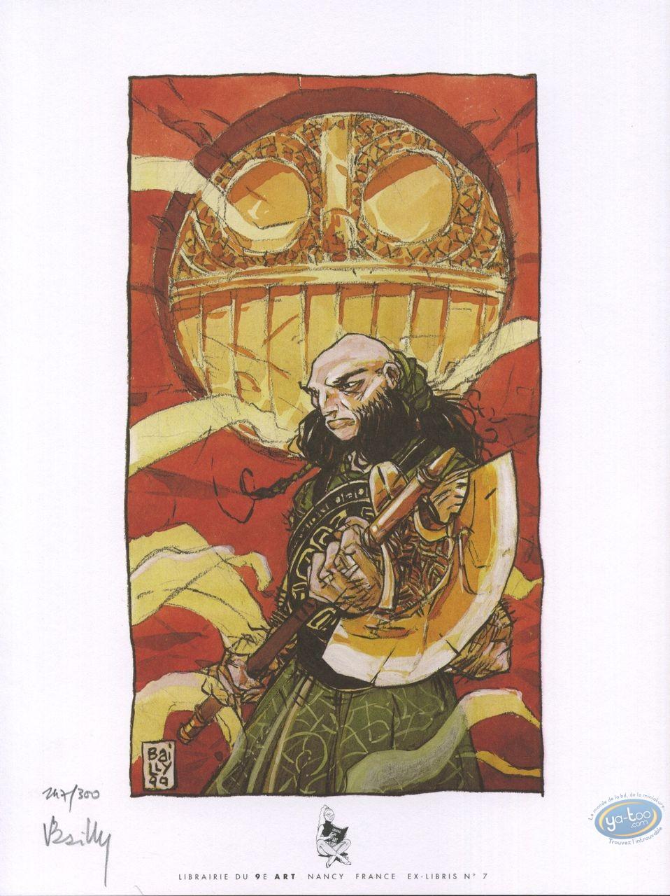 Bookplate Offset, Cœur de Sang (Le) : Warrior with an axe