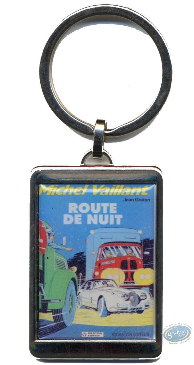Metal Keyring, Michel Vaillant : Silvered key ring : 'Route de nuit'