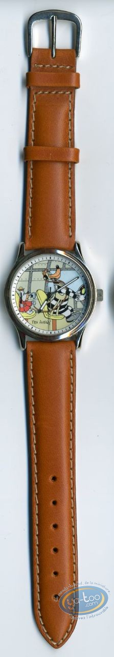 Clocks & Watches, Droopy : Watch Tex Avery Droopy & Thje Wolf Pilot leather strap