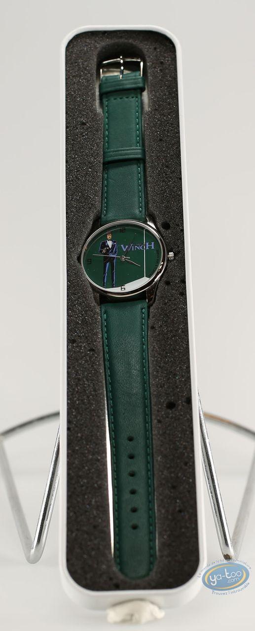 Clocks & Watches, Largo Winch : Watch, Largo gun green background (green leather strip)