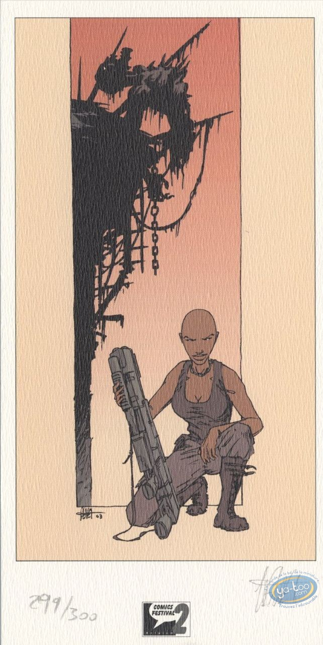 Bookplate Offset, Mygala : Woman with machine gun