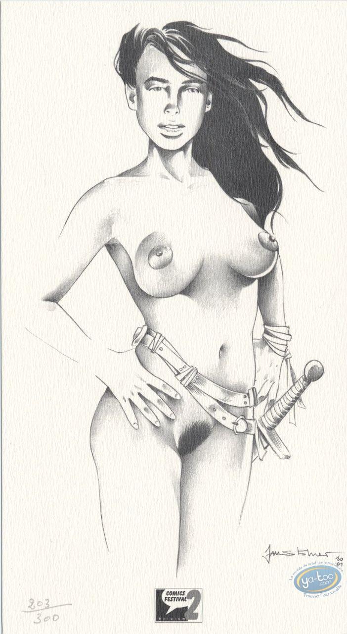 Bookplate Offset, Esmeralda (La) : Naked woman with sword
