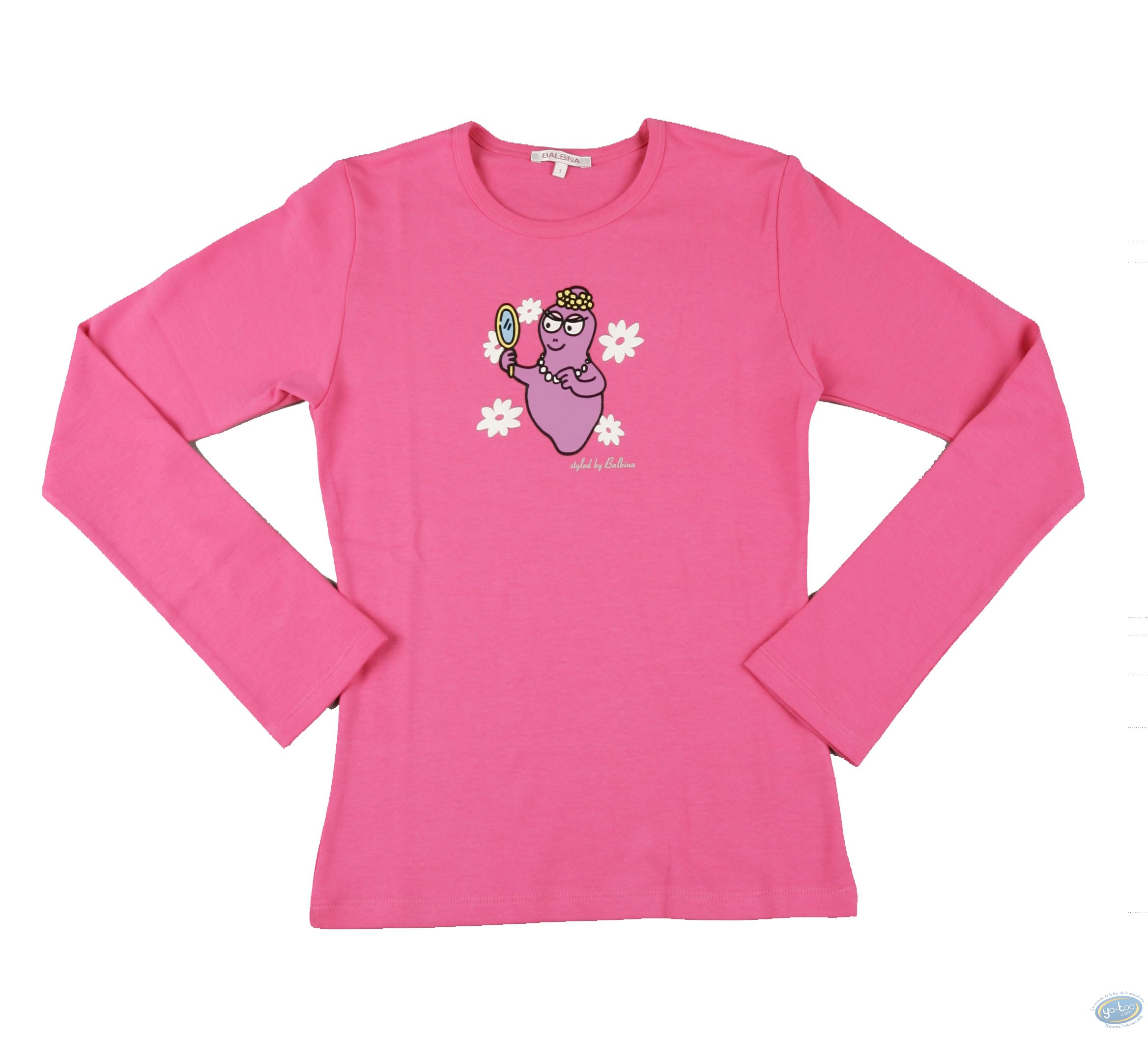 Clothes, Barbapapa : T-shirt long-sleeve pink Barbapapa: size S, mirror