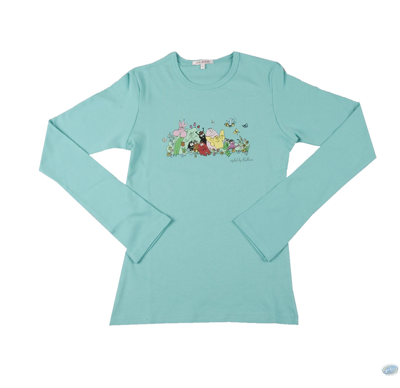Clothes, Barbapapa : T-shirt long-sleeve turquoise  Barbapapa: size S, family