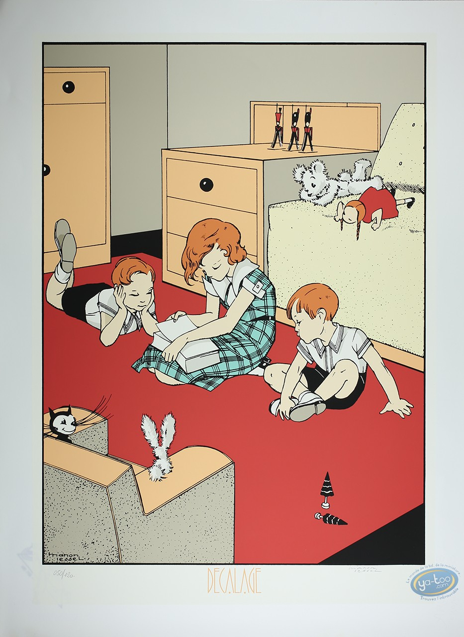 Serigraph Print, Manon Lessel : The Room (little marks in the paper)