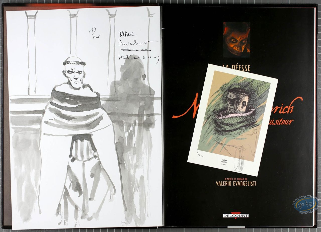 Listed European Comic Books, Nicolas Eymerich : La Deesse (dedication + bookplate + coffret)