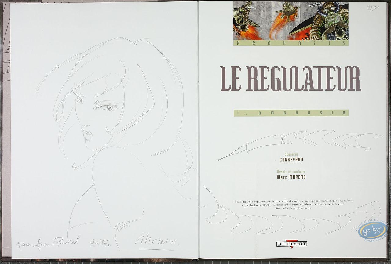 Listed European Comic Books, Régulateur (Le) : Ambrosia (dedication + bookplate)
