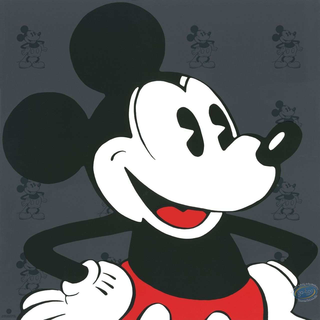 Serigraph Print, Mickey Mouse : Face (grey), Disney