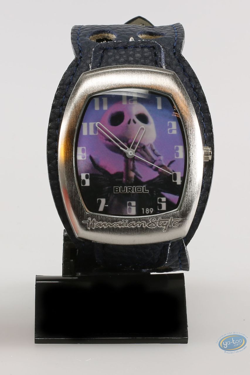 Clocks & Watches, Etrange Noël de Mr. Jack (L') : Watch, The Nightmare before Christmas Mr Jac - blue leather strap
