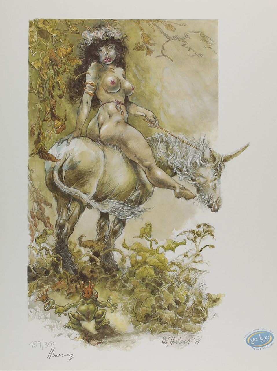 Offset Print, Woman on Unicorn