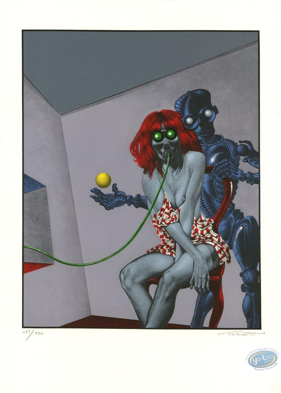Lithography, Woman & Robot