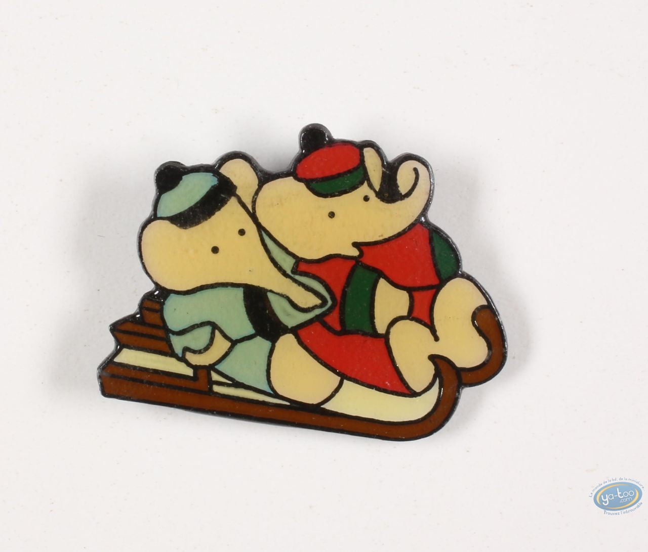 Pin's, Babar : Babar in the winter sports, Pom and Alexandre in sled