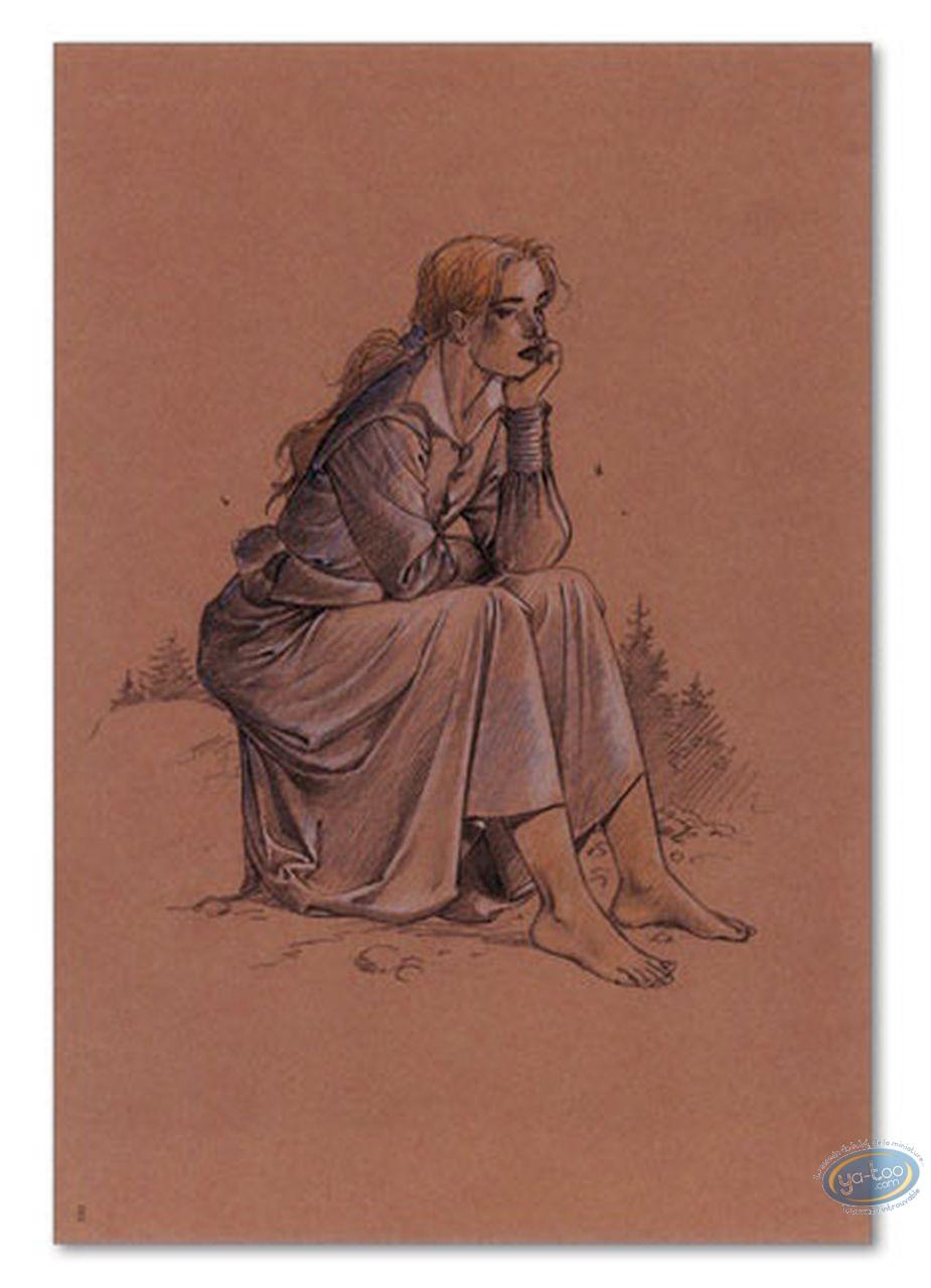 Offset Print, Plume aux Vents : Ariane de Troïl sitting on a rock
