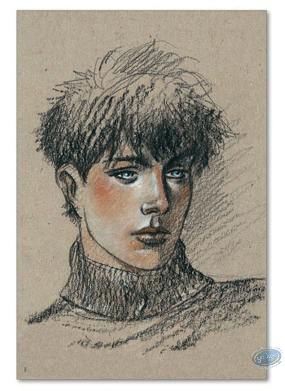 Offset Print, Cahier Bleu (Le) : Louise portrait on a beige background