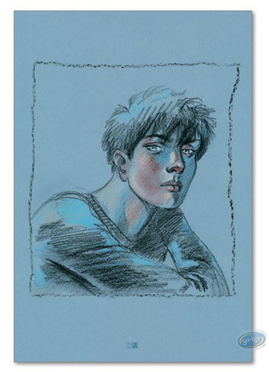 Offset Print, Cahier Bleu (Le) : Louise portrait on a blue background